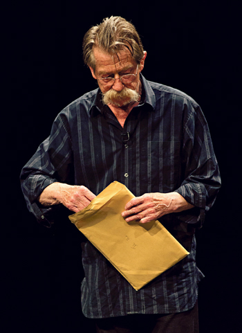 John Hurt performing in Nassim Soleimanpour's White Rabbit Red Rabbit in 2014. Photo: Chris Taylor