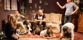 The cast of Hyem at Theatre503, London. Photo: Nick Rutter