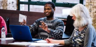 Playwright Oladipo Agboluaje in rehearsal for New Nigerians at the Arcola Theatre. Photo: Alex Brenner