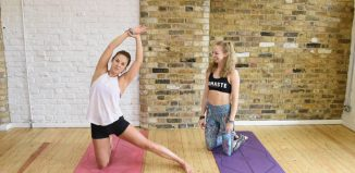 Jessica Louise Parkinson (right) has launched an online resource of yoga videos for people working in theatre