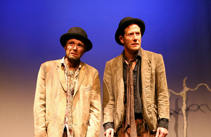 Patrick O'Donnell and Nick Devlin in Waiting for Godot at the Arts Theatre, London