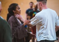 Chipo Chung in rehearsals for the RSC's Dido, Queen of Carthage with Sandy Grierson. Photo: Topher McGrillis