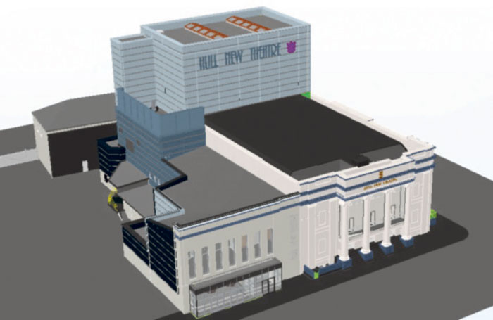 3D visualisation of Hull New Theatre's facade which has been retained while most of the venue has been entirely rebuilt.