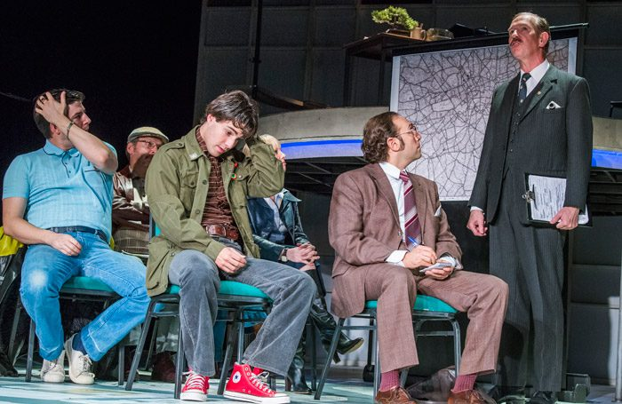 The cast of The Knowledge at Charing Cross Theatre, London. Photo: Tristram Kenton