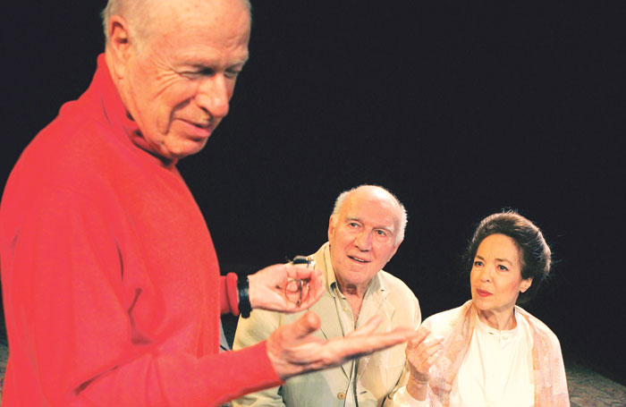 Peter Brook directing Michel Piccoli and Natasha Parry in Ta Main Dans La Mienne at the Barbican Pit, London, in 2005. Photo: Tristram Kenton.