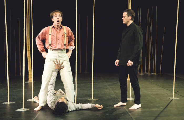 Thomas Dolie, William Nadylam and Adrian Strooper in A Magic Flute, directed by Brook, at the Barbican Theatre, London, in 2011. Photo: Tristram Kenton