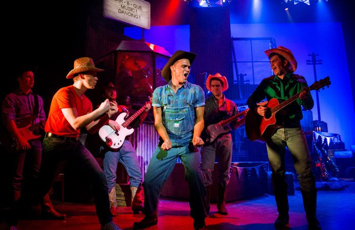 Gareth Gates and the company of Footloose at the Peacock Theatre, London. Photo: Matt Martin
