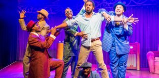 The cast of Five Guys Named Moe at Marble Arch Theatre, London. Photo: Tristram Kenton