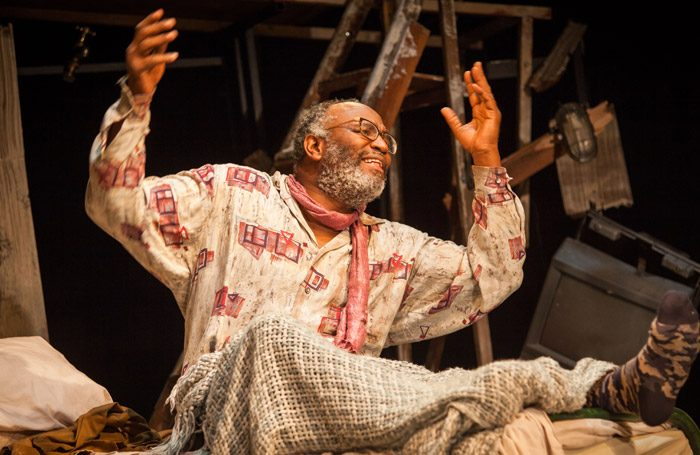 Patrice Naiamba in The Caretaker at Bristol Old Vic. Photo: Iona Firouzabad