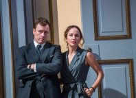Toby Stephens and Lydia Leonard in Oslo at National Theatre, London. Photo: Tristram Kenton
