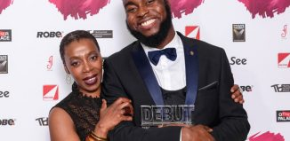 The Stage Debut Awards 2017 presenter Noma Dumezweni with best actor in a play award winner Abraham Popoola