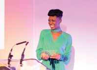 Miriam-Teak Lee receiving her award at The Debut awards in September, 2017