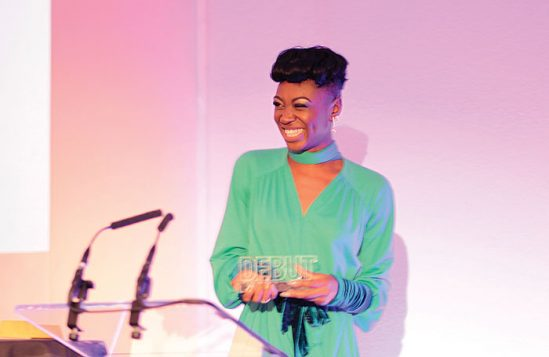 Miriam-Teak Lee receiving her award at The Stage Debut awards in September, 2017