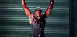 Sope Dirisu in the RSC production of Coriolanus. Photo: Helen Maybanks