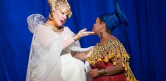Michelle DeYoung and Latonia Moore in Aida at London Coliseum. Photo: Tristram Kenton
