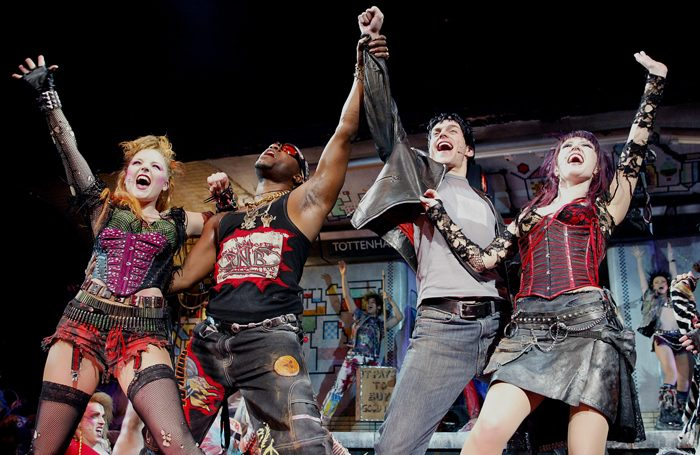 Kerry Ellis, Nigel Clauzel, Tony Vincent and Hannah Jane Fox in We Will Rock You at the Dominion Theatre, London, in 2002. Photo: Tristram Kenton