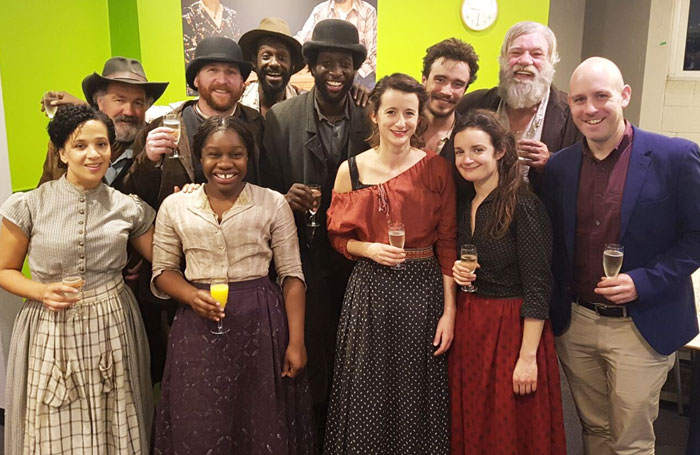 Desire Under the Elms press night, Sheffield Crucible: Back row: Cast members Colin Haigh, Tim Dewberry, Sule Rimi, Theo Ogundipe, Michael Shea and Matthew Kelly. Front: Cast members Claudia Cadette, Me'Sha Bryan, Emma Darlow and Aoife Duffin with artistic director Robert Hastie