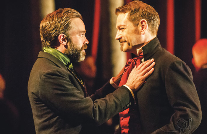 Hadley Fraser with Kenneth Branagh in The Winter's Tale at the Garrick Theatre in 2015. Photo: Johan Persson