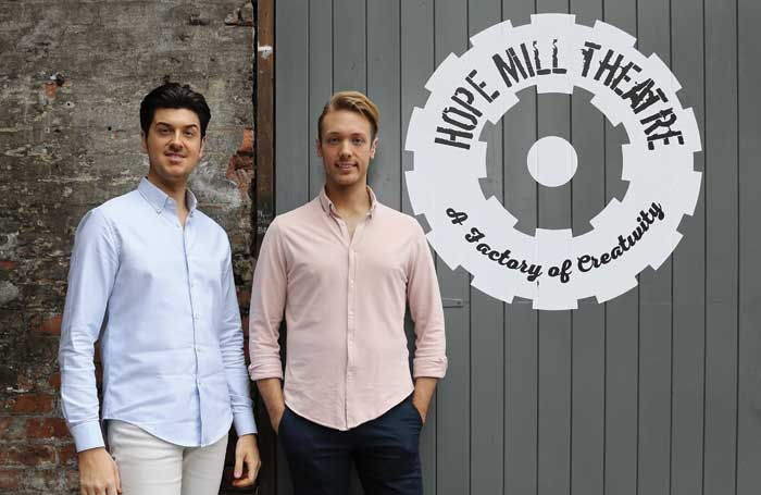 Joseph Houston (left) and William Whelton outside the Hope Mill Theatre. Photo: Shay Rowan