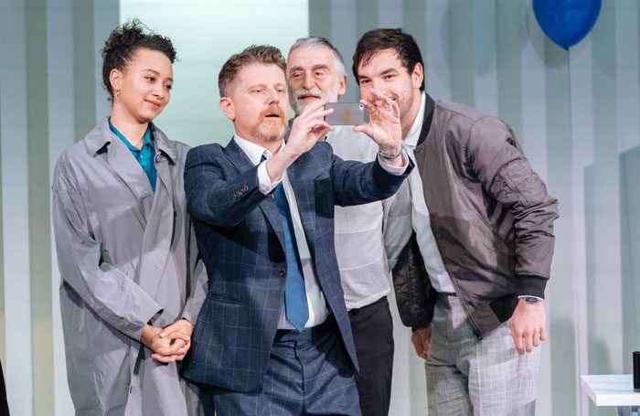 Emma Naomi, Reece Dinsdale, Robert Pickavance and Katherine Rose Morley in (The Fall of) The Master Builder at West Yorkshire Playhouse. Photo: Manuel Harlan