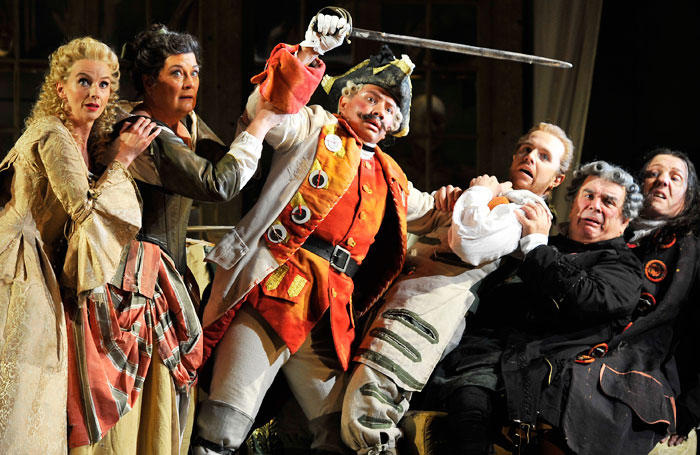 Sarah Tynan, Yvonne Howard, Eleazar Rodriguez, Morgan Pearse and Alan Opie Alastair Miles in The Barber of Seville. Photo: Robbie Jac
