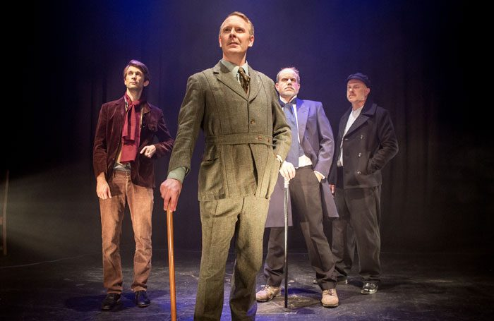 Jake Snowdon, Ross Muir, David Stephens and Lee Payn in The Four Men at the Connaught Theatre. Photo: Sam Pharoah