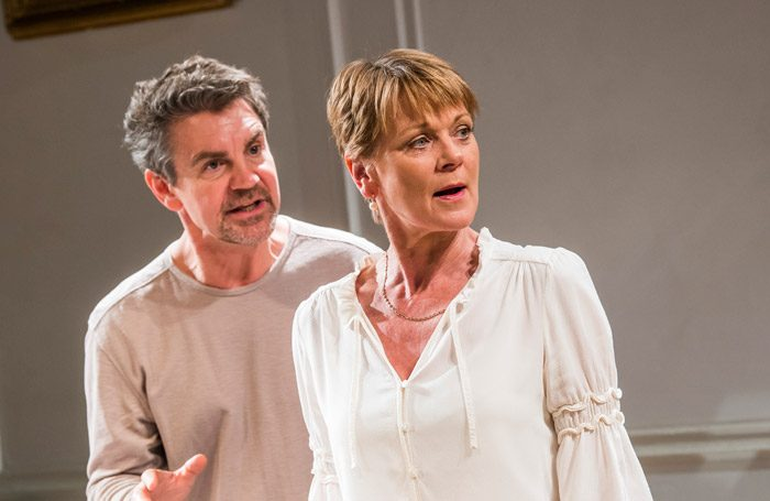 Alexander Hanson and Samantha Bond in The Lie at Menier Chocolate Factory, London. Photo: Tristram Kenton