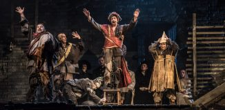 Paul Charles Clark, Laurence Cole, Julian Close and Adrian Thompson in WNO's From the House of the Dead. Photo: Clive Barda