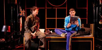 Anna Martine Freeman and Nima Taleghani in Laika at Unicorn Theatre, London