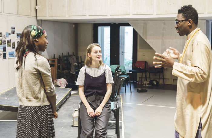 Nikki Amuka-Bird with Helena Wilson and Kwame Kwei-Armah in rehearsals  for The Lady from the Sea at the Donmar Warehouse. Photo: Manuel Harlan