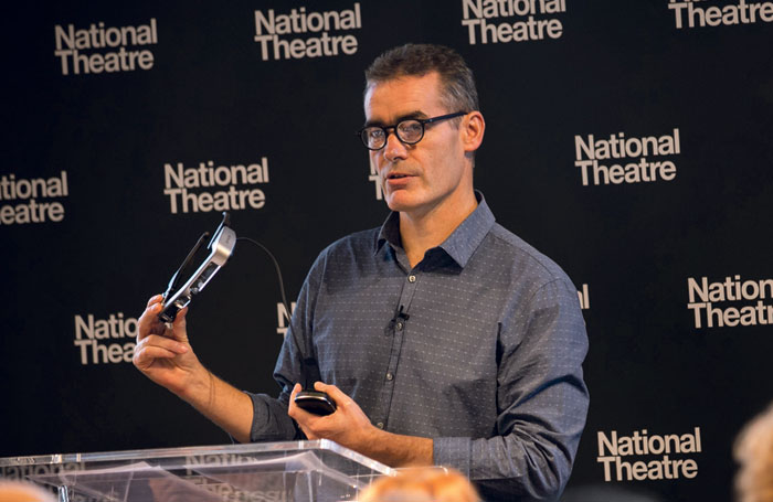 Rufus Norris with the caption glasses. Photo: Cameron Slater