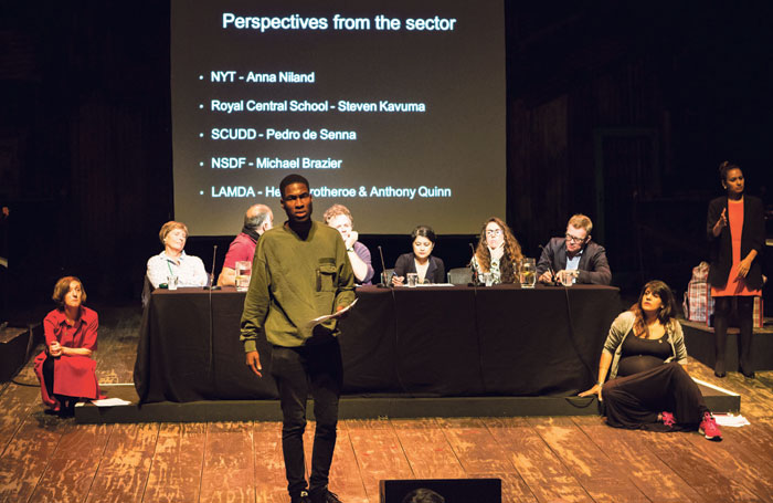 Steven Kavuma, a student at Royal Central School of Speech and Drama who founded the Diversity School Initiative, speaking at Act for Change's debate Diversity in Training for the Industry at London's Young Vic in 2016. Photo: Helen Murray