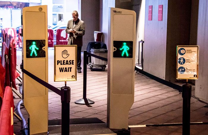 Metal detectors at a Broadway theatre entrance. Photo: Howard Sherman