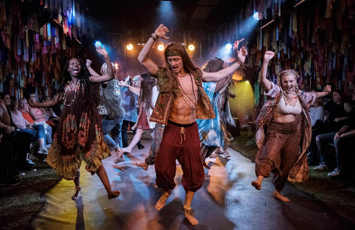 The cast of Hair at the Vaults, London. Photo: Claire Bilyard.