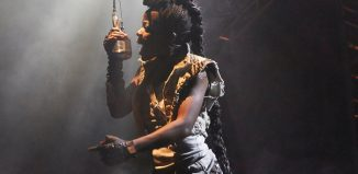 Debbie Korley in Beowulf at the Unicorn Theatre, London