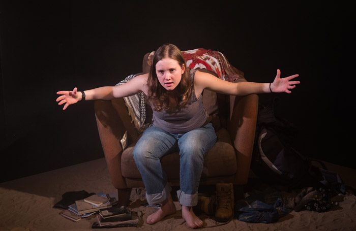 Shannon Keogh in My Name Is Rachel Corrie at the Other Room, Cardiff. Photo: Kieran Cudlip