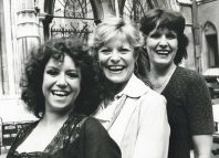 Diane Langton, Leventon and Gaye Brown outside the High Court in 1982. Photo: Jack Manwaring