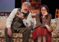 Simon Armstrong and Hedydd Dylan in the Cherry Orchard at Sherman Theatre, Cardiff. Photo: Mark Douet