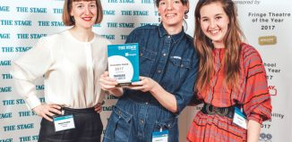 Director Kirsty Housley, centre, with Complicite's Poppy Keeling (left) and Claire Gilbert (right) receiving The Stage Award for innovation earlier this year. Housley co-directed The Encounter. Photo: David Monteith-Hodge