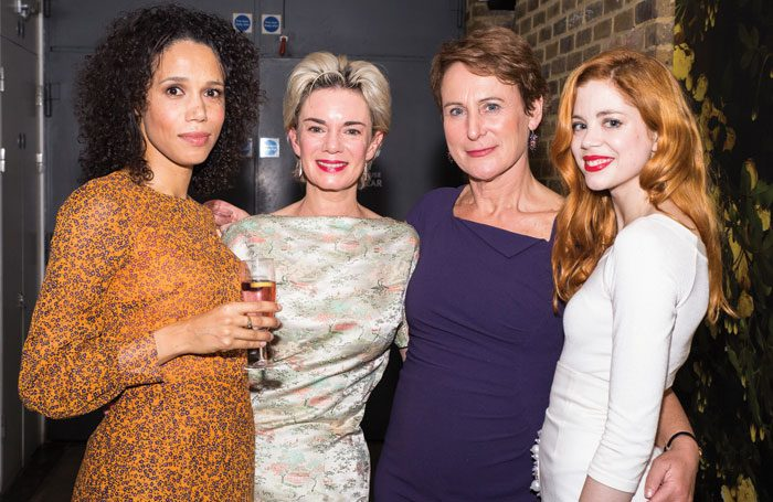 Cast members Vinette Robinson, Victoria Hamilton, Helen Schlesinger and Charlotte Hope at the Albion press night at the Almeida Theatre, London. Photo: Lara Genovese at Naiad Photography
