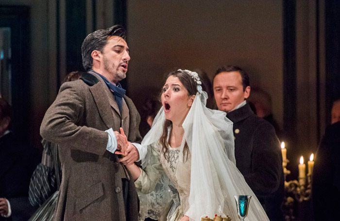 Charles Castronovo and Lisette Oropesa in Lucia di Lammermoor at Royal Opera House, London. Photo: Tristram Kenton