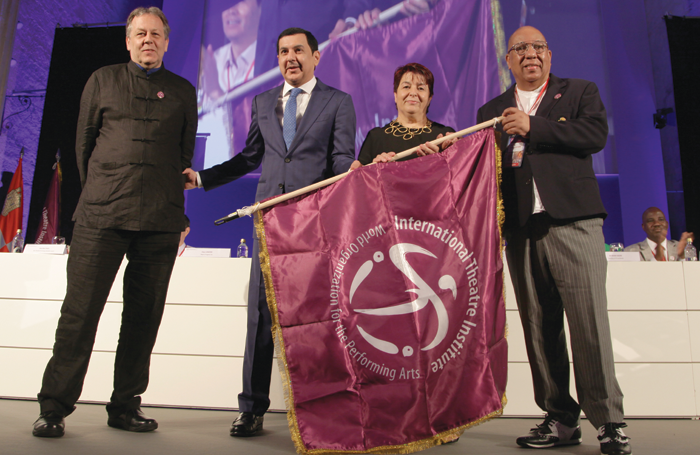 ITI director general Tobias Biancone and president Mohammed Saif Al-Afkham with Segovia mayor Isabel Luquero and ITI Spain president Alberto Garcia Castano