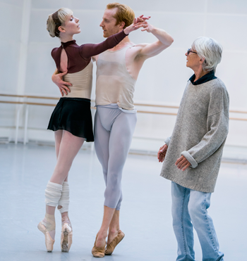 Sarah Lamb, Steven McRae and Twyla Tharp in rehearsals for The Illustrated 'Farewel'. Tristram Kenton