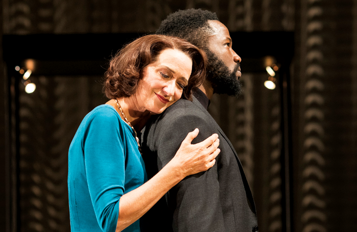 Sope Dirisu and Haydn Gwynne in the Royal Shakespeare Company's Coriolanus. Photo: Helen Maybanks