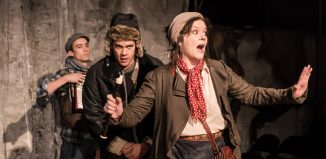 Julien Moore, Jake Phillips and Josie Lawrence in Mother Courage and Her Country at Southwark Playhouse, London. Photo: Scott Rylander