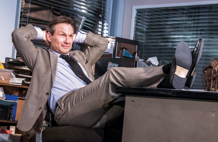 Christian Slater in Glengarry Glen Ross at London's Playhouse Theatre. Photo: