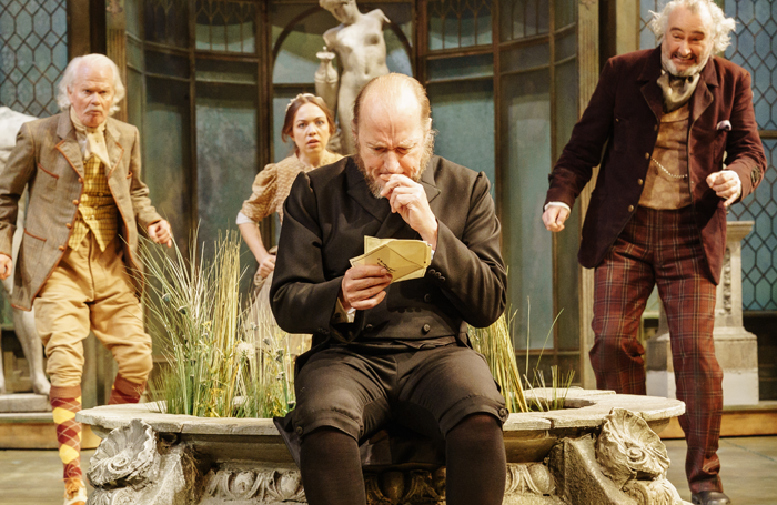 Michael Cochrane, Sarah Twomey, Adrian Edmondson and John Hodgkinson in Twelfth Night. Photo: Manuel Harlan