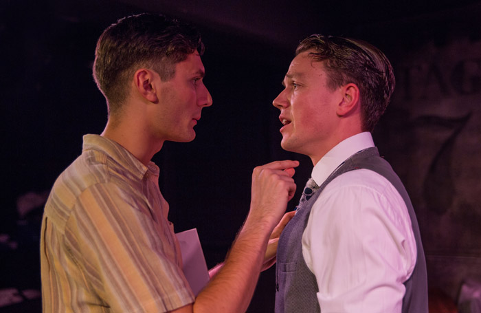 Tom Berkeley and Mitchell Hunt in The Tailor-Made Man at the White Bear Theatre, London. Photo: Andreas Lambis