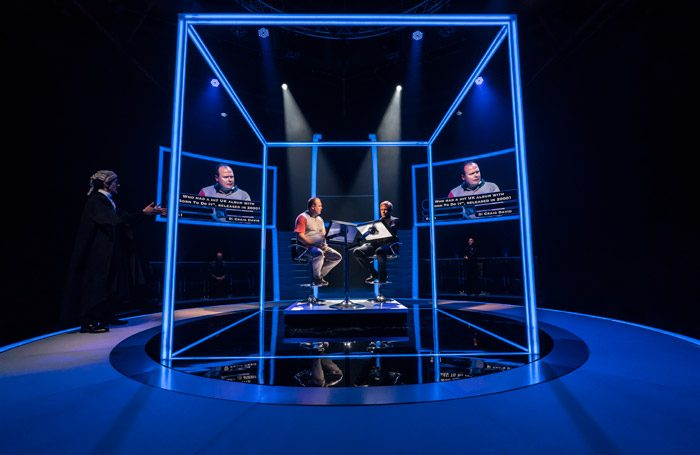 Paul Bazely, Gavin Spokes and Keir Charles in Quiz at Chichester Festival Theatre. Photo: Johan Persson