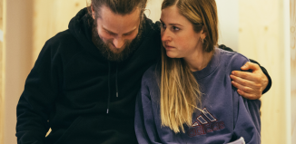 Tadhg Murphy and Ria Zmitrowicz in rehearsals for Bad Roads. Photo: Helen Murray